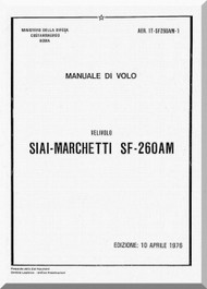 SIAI Marchetti SF-260 AM Aircraft Flight Manual,  Manuale di Volo ( Italian Language ) , AER 1T-SF260AM-1