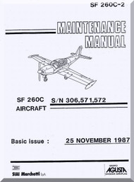SIAI Marchetti SF-260 C Aircraft Maintenance Manual - Basic Aircraft ,  Manuale di Manutenzione  ( English Language ) , SF 260C-2