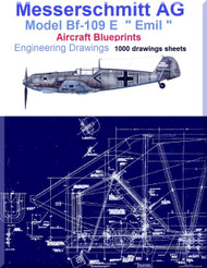 Messerschmitt Bf-109 E Aircraft Blueprints Engineering Drawings - DVD