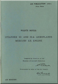 Westland Lysander III Aircraft  Pilot's Notes Manual