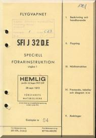 SAAB J 32 D, E Aircraft  Flight  Manual,  ( Swedish  Language )