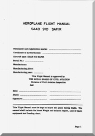 SAAB 91 D Safir Aircraft Flight Manual - 1953