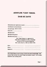 SAAB 91C Safir Aircraft  Flight  Manual,  ( English Language ) ,