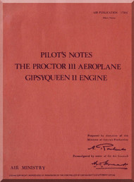 Percival Proctor III  Aircraft  Pilot's Notes Manual