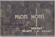 Short Solent S.45 Aircraft  Pilot's Notes Manual