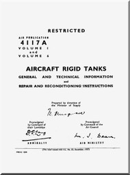 Supermarine Spitfire Aircraft Technical Manual - Rigid Tanks - AP 4117 A