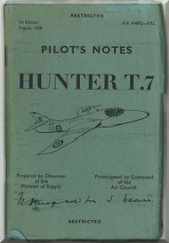 Hawker Hunter T.7  Aircraft Pilot's Notes Manual