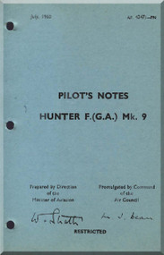 Hawker Hunter  F Mk.9  Aircraft Pilot's Notes Manual