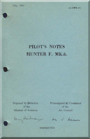Hawker Hunter F Mk. 6 Aircraft  Pilot's Notes Manual