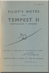 Hawker Tempest II  Aircraft Pilot's Notes Manual