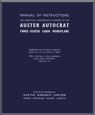 Auster Autocrat Aircraft Instructions Maintenance & Rigging   Manual