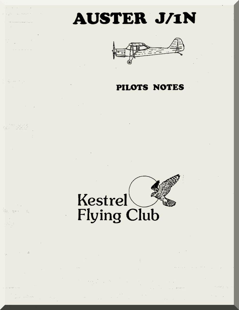 Auster J1N Aircraft Instructions Pilot's Notes Manual