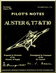 Auster 6 T7 & T10  Aircraft Instructions Pilot's Notes Manual