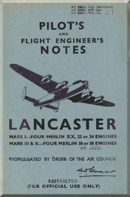 A. V. Roe Avro 683 Lancaster Aircraft  Pilot's Notes Manual