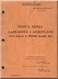 A. V. Roe Avro Lancaster Mk. I Aircraft Pilot's Notes Manual