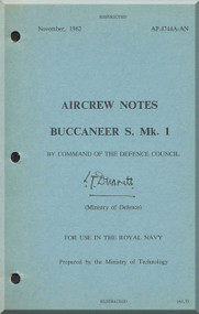 Blackburn Buccaneer S Mk. 1 Aircraft Aircrew Notes Manual