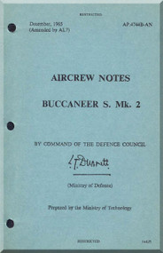 Blackburn Buccaneer S Mk. 2A Aircraft Aircrew Notes Manual