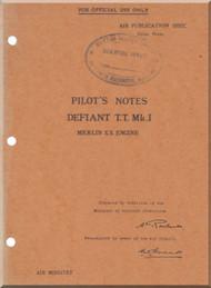 Boulton Paoul Defiant T.T. Mk.I  Aircraft  Pilot's Notes Manual A.P. 1592C