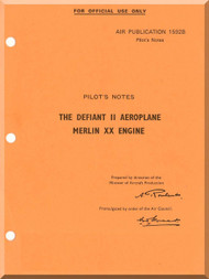 Boulton Paoul Defiant II  Aircraft  Pilot's Notes Manual A.P. 1592B