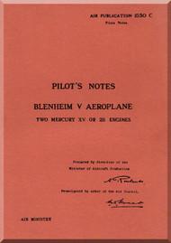 Bristol Blenheim V Aircraft Pilot's Notes Manual -   A.P. 1530 C