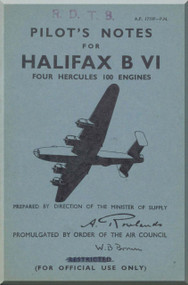 Handley Page Halifax  B VI Aircraft  Pilot's Notes Manual A.P. 1719F