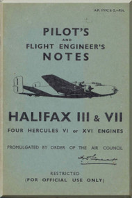 Handley Page Halifax III  & VII  Aircraft Pilot's Notes Manual