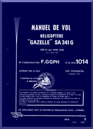 Sud Aviation  / SNCASE SA-341  G  Gazelle Helicopter  Flight Manual - French