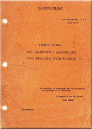 Handley Page Hampden I Aircraft  Pilot's Notes Manual A. P. 1579 A
