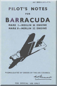 Fairey Barracuda  Aircraft Pilot's Notes Manual