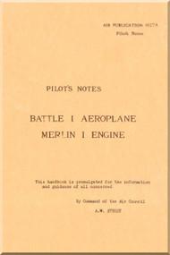 Fairey Battle I  Aircraft Pilot's Notes Manual - Air Publication 1527 A