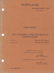 Fairey Fulmar I & II Aircraft Pilot's Notes Manual