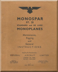 General Aircraft Monospar Aircraft Maintenance, Rigging and General Instruction Manual