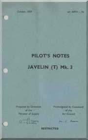 Gloster Javelin T Mk.3  Aircraft Pilot's Notes Manual