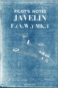 Gloster Javelin F. (A.W.) Mk.1  Aircraft Pilot's Notes Manual