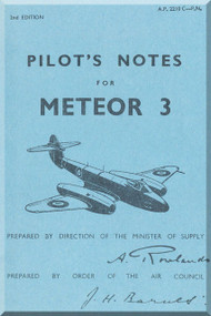 Gloster Meteor 3 Aircraft Pilot's Notes Manual