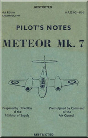 Gloster Meteor 7 Aircraft Pilot's Notes Manual