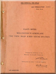 Vickers Wellington IV  Aircraft  Pilot's Notes Manual