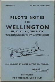 Vickers Wellington III, X , XI, XII, XIII & XIV  Aircraft  Pilot's Notes Manual
