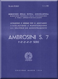 Ambrosini S.7 Aircraft Maintenance Manual, ( Italian Language ) CA 802, 1954