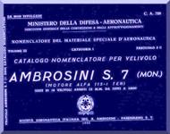 Ambrosini S.7  Single Seat Aircraft Illustrated Parts Catalog  Manual, ( Italian Language ) CA 728, 1950