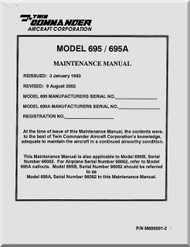 Aero Commander 695 / 695 A Aircraft Maintenance  Manual