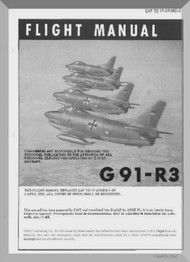 Aeritalia / FIAT G-91 R3 Aircraft Flight  Manual, ( English Language ) GAf 1F-G91-R3-1 , 1963-1964