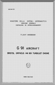 Aeritalia / FIAT G-91 Aircraft Flight  Handbook Manual, ( English Language )