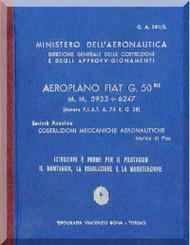 FIAT G.50 Bis  Aircraft Erection and Maintenance Manual,  Istruzioni per il Montaggio  e la Regolazione ( Italian Language ) , CA.381 /3 ,