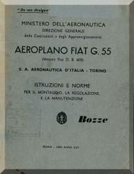 FIAT G.55  Aircraft Erection and Maintenance Manual,  Istruzioni per il Montaggio  e la Regolazione ( Italian Language ) , Bozze 1943