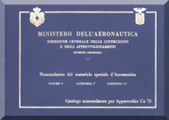 Caproni Ca.73 Aircraft Illustrated Parts Catalog  Manual, Catalogo Nomenclatore ( Italian Language ) - 1929