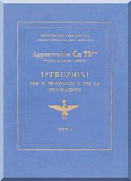 Caproni Ca.73 Aircraft Erection and Maintenance Manual,  Istruzioni per il Montaggio  e la Regolazione ( Italian Language ) ,