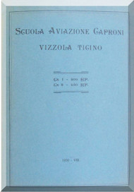Caproni CA.1 Ca.3  Aircraft  General Description Manual,  Descrizione e Funzionamento ( Italian Language ) , 1930