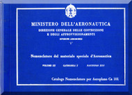 Caproni Ca.101 Aircraft Illustrated Parts Catalog   Manual, Catalogo Nomenclatore   ( Italian Language ) - 1934