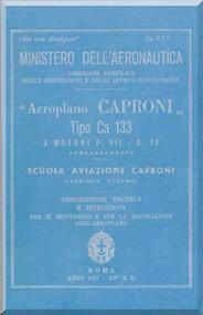 Caproni Ca.133 Aircraft Erection and Maintenance Manual,  Istruzioni per il Montaggio  e la Regolazione ( Italian Language ) ,  C.A 257